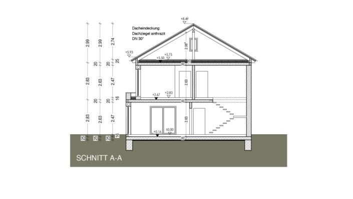 Einfamilienhaus mit 165 qm ohne Keller, Schnitt