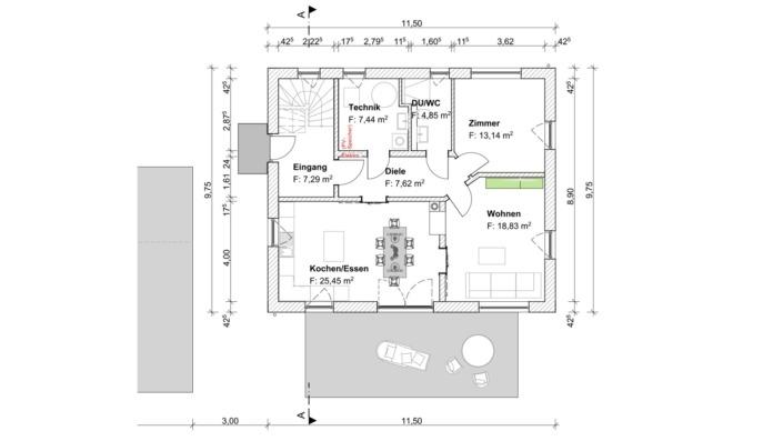 Einfamilienhaus mit 167 qm ohne Keller, Grundriss Erdgeschoss