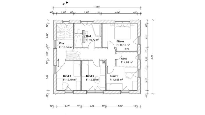 Einfamilienhaus mit 167 qm ohne Keller, Grundriss Obergeschoss