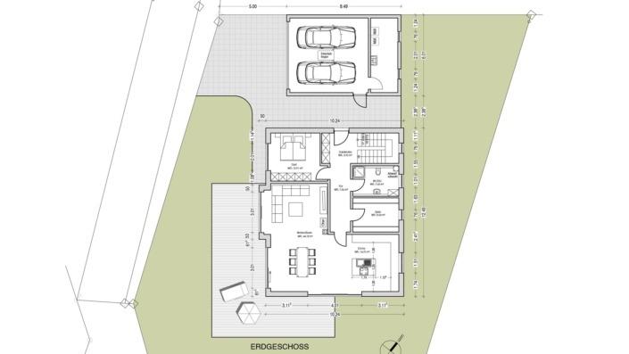 Einfamilienhaus ohne Keller mit 191 qm, Grundriss Erdgeschoss mit Garage