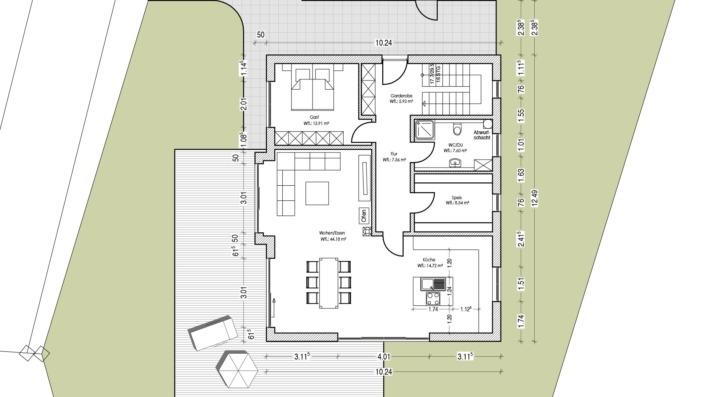 Einfamilienhaus ohne Keller mit 191 qm, Grundriss Erdgeschoss