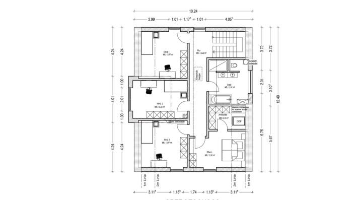 Einfamilienhaus ohne Keller mit 191 qm, Grundriss Obergeschoss