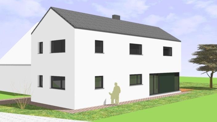 Schmales Einfamilienhaus mit 142 qm, Ansicht Südost