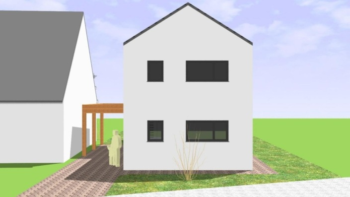 Schmales Einfamilienhaus mit 142 qm, Ansicht Nord-Nordost