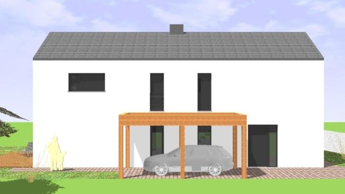 Schmales Einfamilienhaus mit 142 qm, Ansicht Ost-Südost