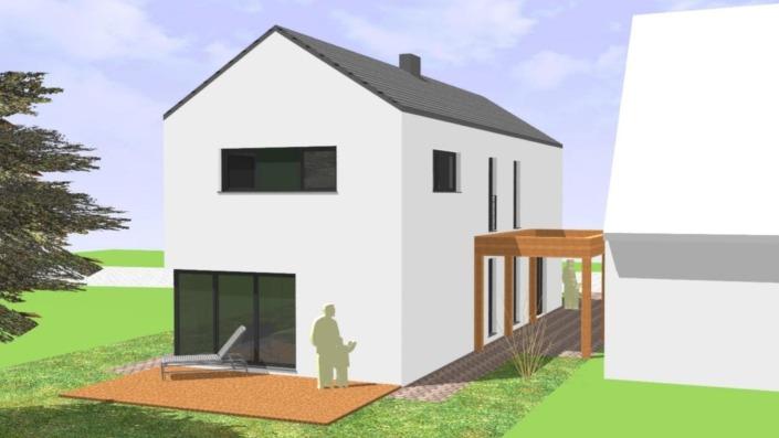 Schmales Einfamilienhaus mit 142 qm, Ansicht Süd