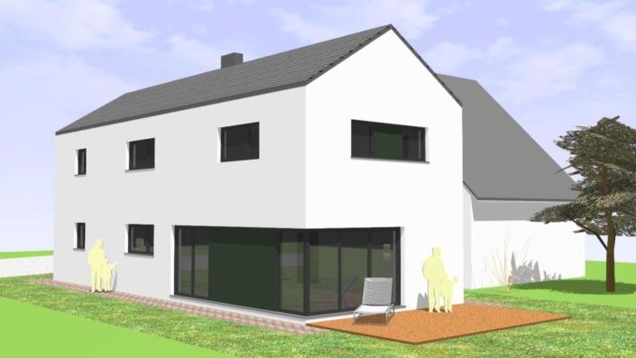 Schmales Einfamilienhaus mit 142 qm, Ansicht Südwest