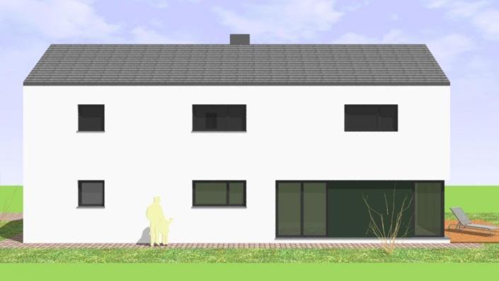 Schmales Einfamilienhaus mit 142 qm, Ansicht West-Nordwest