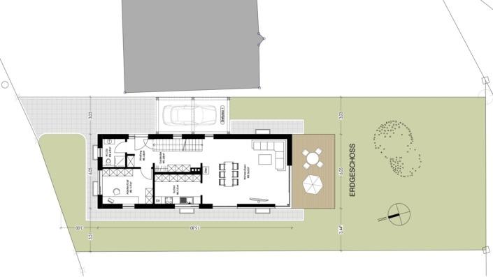 Schmales Einfamilienhaus mit 142 qm, Grundriss Erdgeschoss