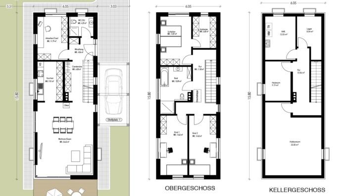 Schmales Einfamilienhaus mit 142 qm, Grundrisse