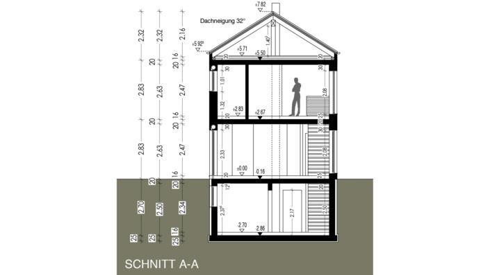 Schmales Einfamilienhaus mit 142 qm, Schnitt