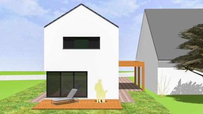 Schmales Haus mit 142 qm, Ansicht Südwest