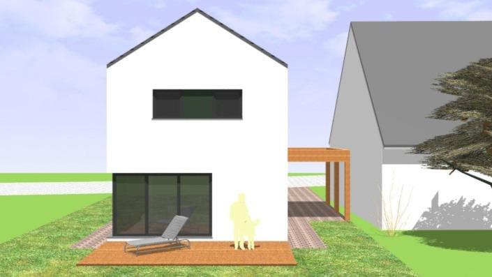 Schmales Einfamilienhaus mit 142 qm, Ansicht Süd-Südwest