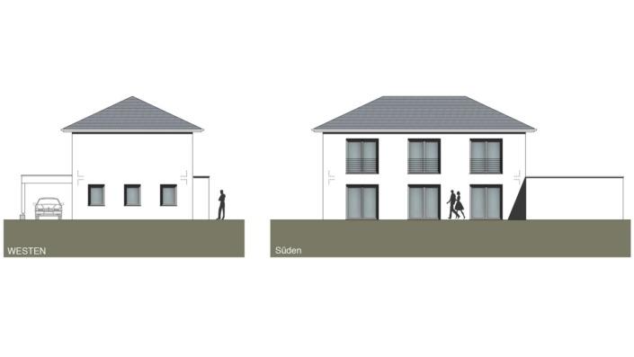 Schmales Einfamilienhaus mit 148 qm, Ansichten West, Süd