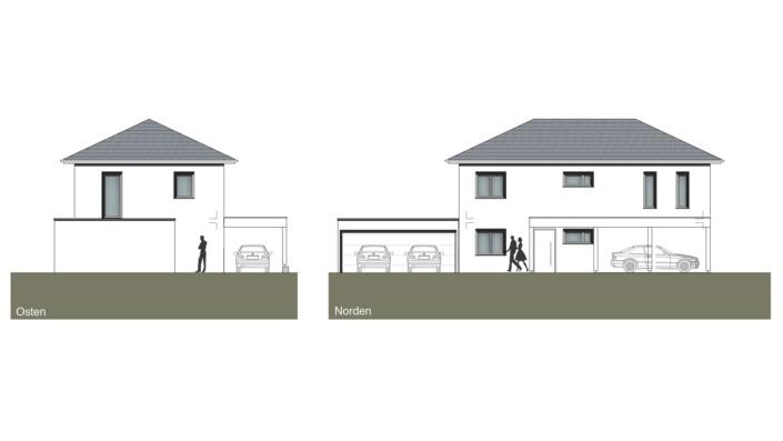Schmales Einfamilienhaus mit 148 qm, Ansichten Ost, Nord