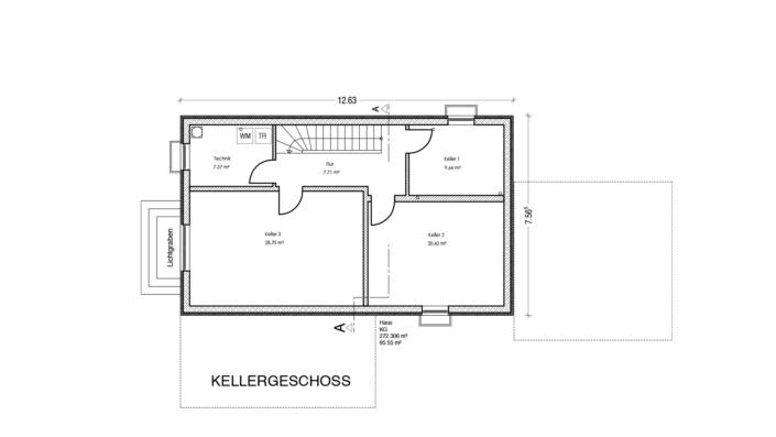 Schmales Einfamilienhaus mit 148 qm, Grundriss Keller
