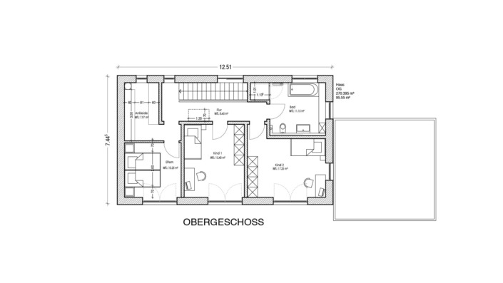 Schmales Einfamilienhaus mit 148 qm, Grundriss Obergeschoss