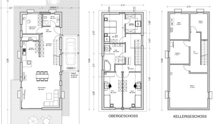 Schmales Einfamilienhaus mit 151 qm, Grundrisse