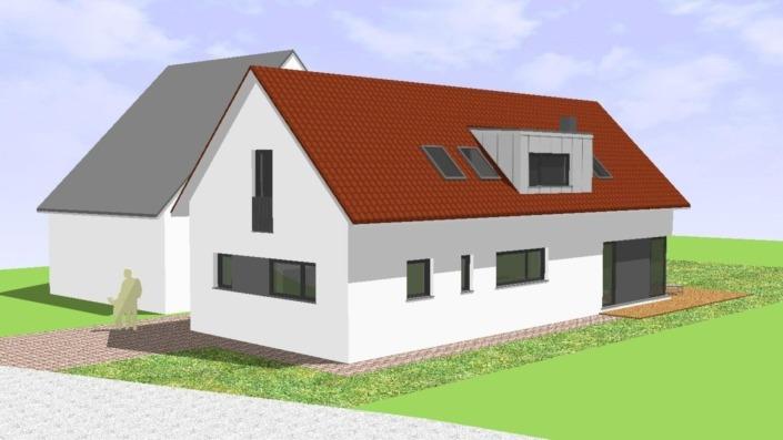 Schmales Einfamilienhaus mit 151 qm, Ansicht Nord