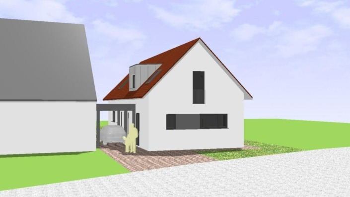 Schmales Einfamilienhaus mit 151 qm, Ansicht Nordost