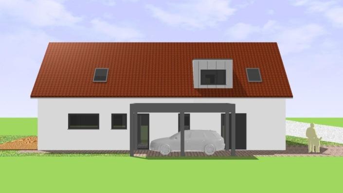 Schmales Einfamilienhaus mit 151 qm, Ansicht Ost