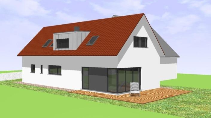 Schmales Einfamilienhaus mit 151 qm, Ansicht West-Südwest