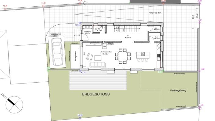 Schmales Einfamilienhaus mit 151 qm, Grundriss Erdgeschoss
