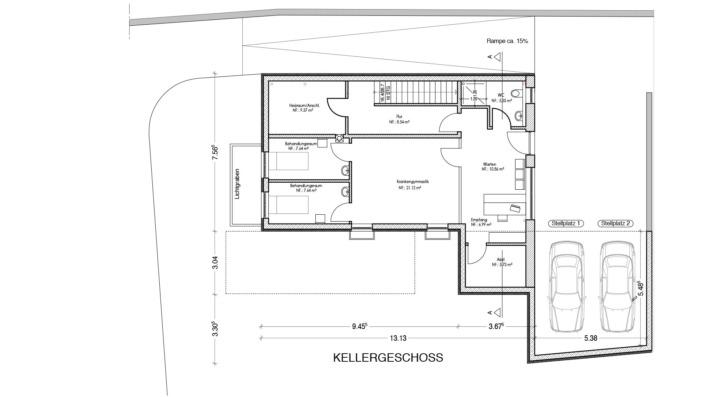 Schmales Einfamilienhaus mit 151 qm, Grundriss Keller