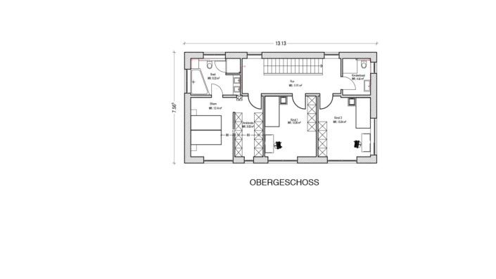 Schmales Einfamilienhaus mit 151 qm, Grundriss Obergeschoss