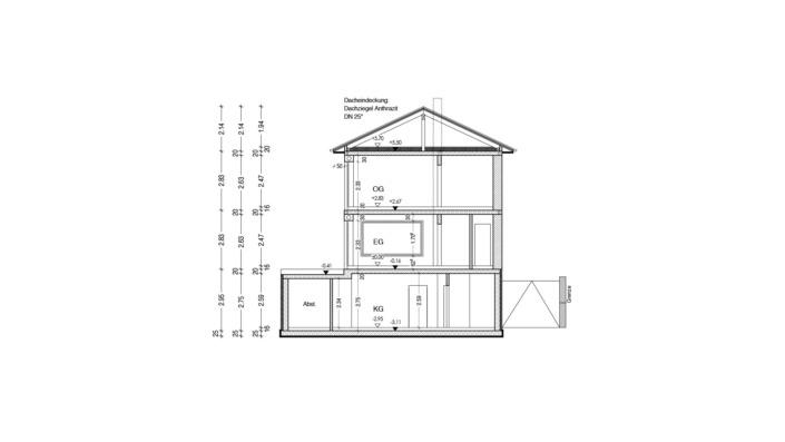 Schmales Einfamilienhaus mit 151 qm, Schnitt
