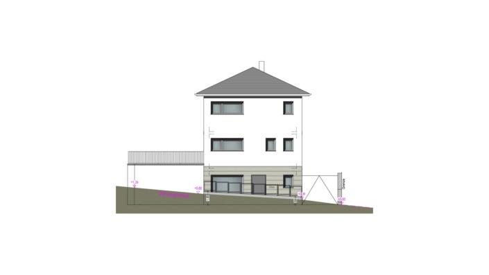 Schmales Einfamilienhaus mit 151 qm, Ansicht Südost