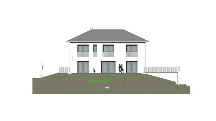 Schmales Einfamilienhaus mit 151 qm, Ansicht Südwest