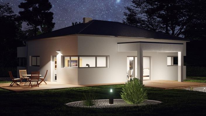 Einfamilienhaus mit 127 qm ohne Keller, Visualisierung Nacht